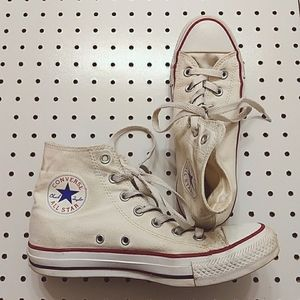 White High Top Converse All Stars, Size 8